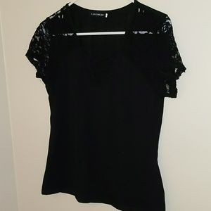 Tops - Fancyqube Black Lace Sleeved Tee